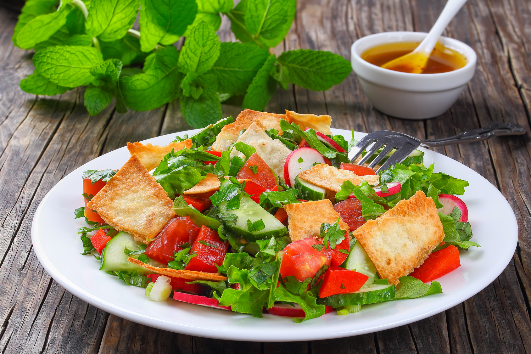 Italian panzanella-style bread salad with tomatoes and basil