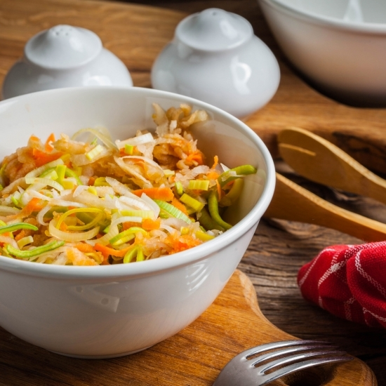Grated carrot and celery stalk salad