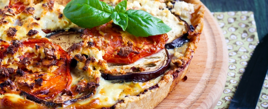 Aubergine, dried tomato and goat cheese tartelette
